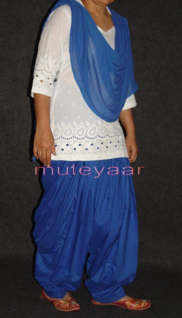 100% Pure Cotton BLUE Patiala Salwar + matching Chiffon dupatta 2