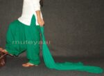 Green Cotton Full Patiala Salwar with matching Chiffon dupatta