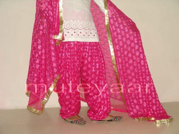 Hot Pink Magenta PHULKARI Patiala Salwar with matching Dupatta PHS01