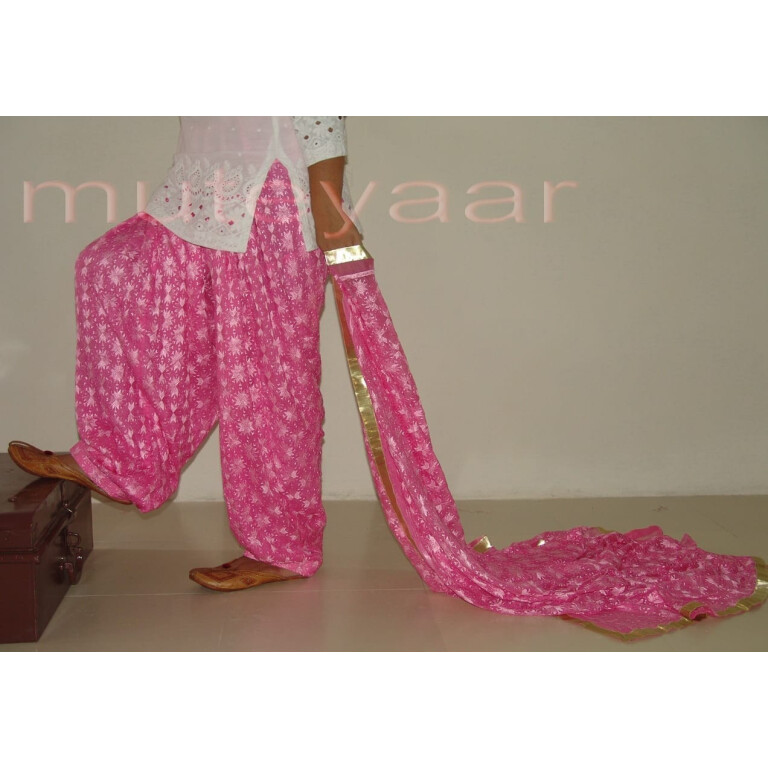 Embroidered PHULKARI Patiala Salwar with matching Dupatta PHS04