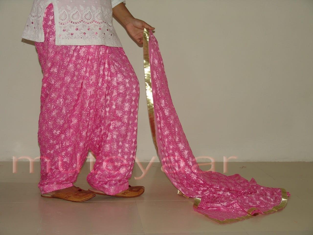 Embroidered PHULKARI Patiala Salwar with matching Dupatta PHS04 2