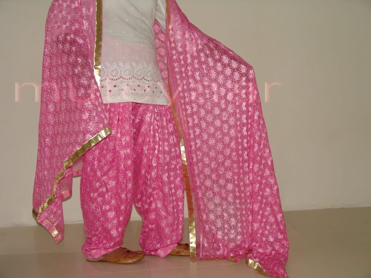 Embroidered PHULKARI Patiala Salwar with matching Dupatta PHS04 3