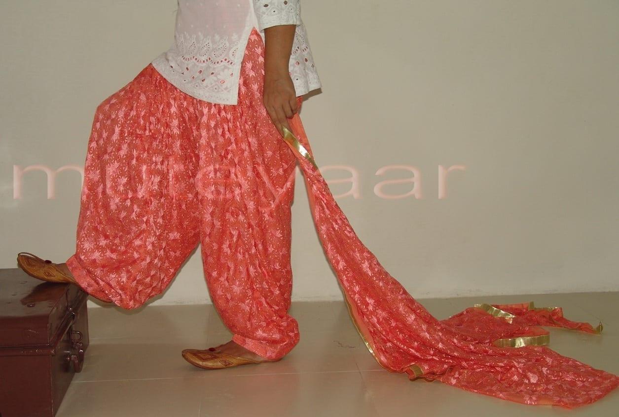 Peach PHULKARI Patiala Salwar with matching Dupatta PHS07 1