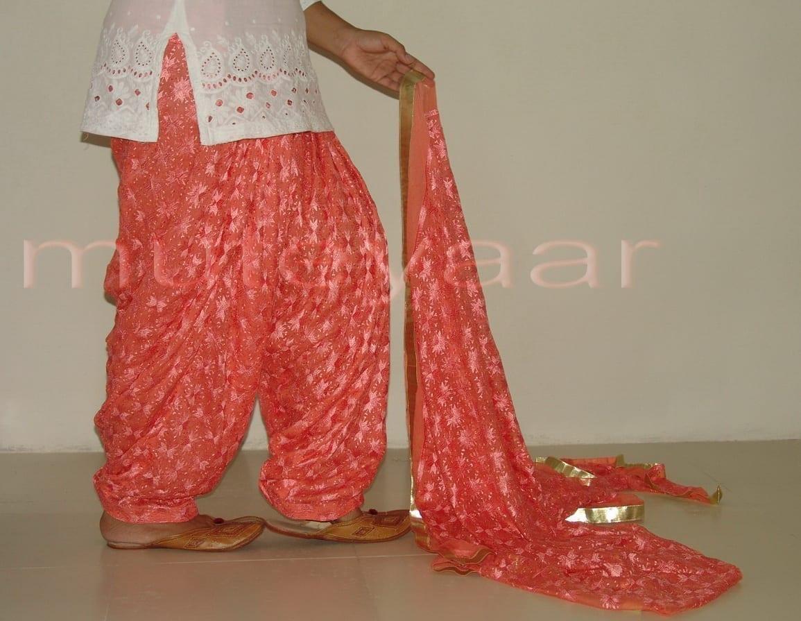 Peach Phulkari Patiala Salwar with matching Dupatta PHS07 2