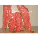 Peach Phulkari Patiala Salwar with matching Dupatta PHS07