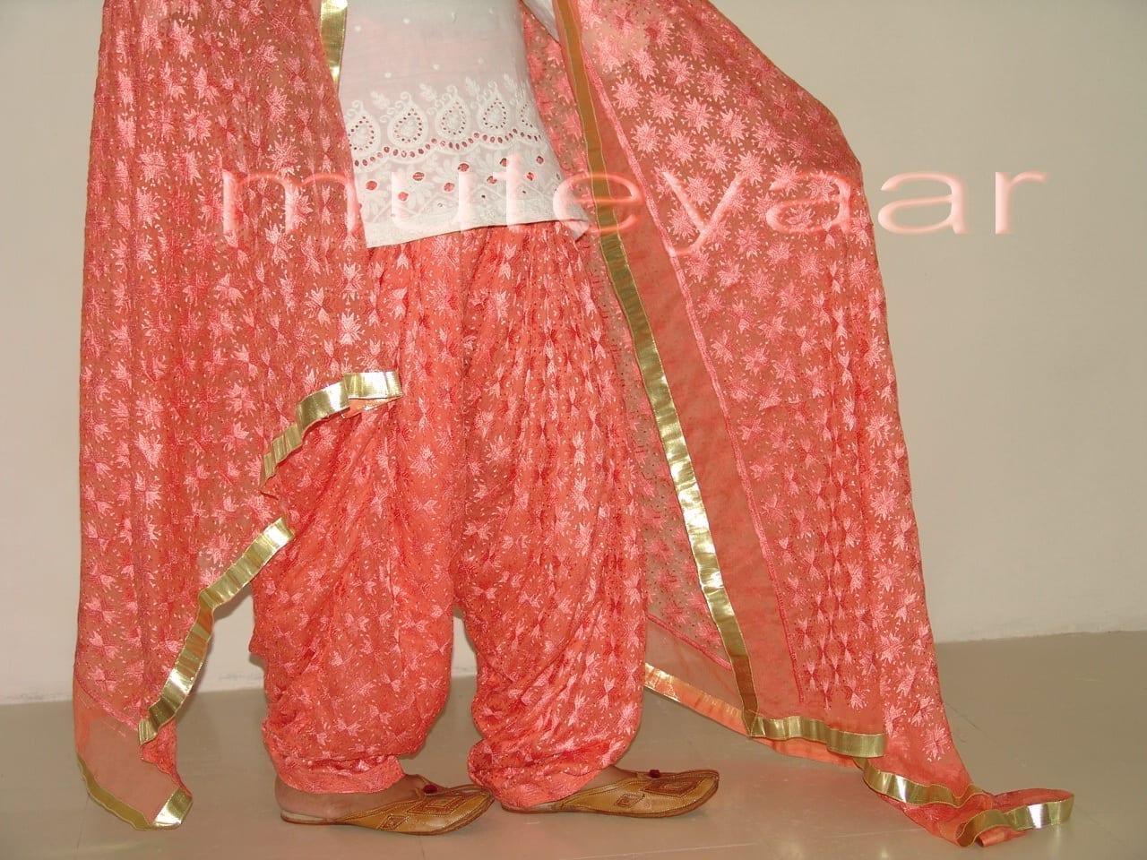 Peach PHULKARI Patiala Salwar with matching Dupatta PHS07 3