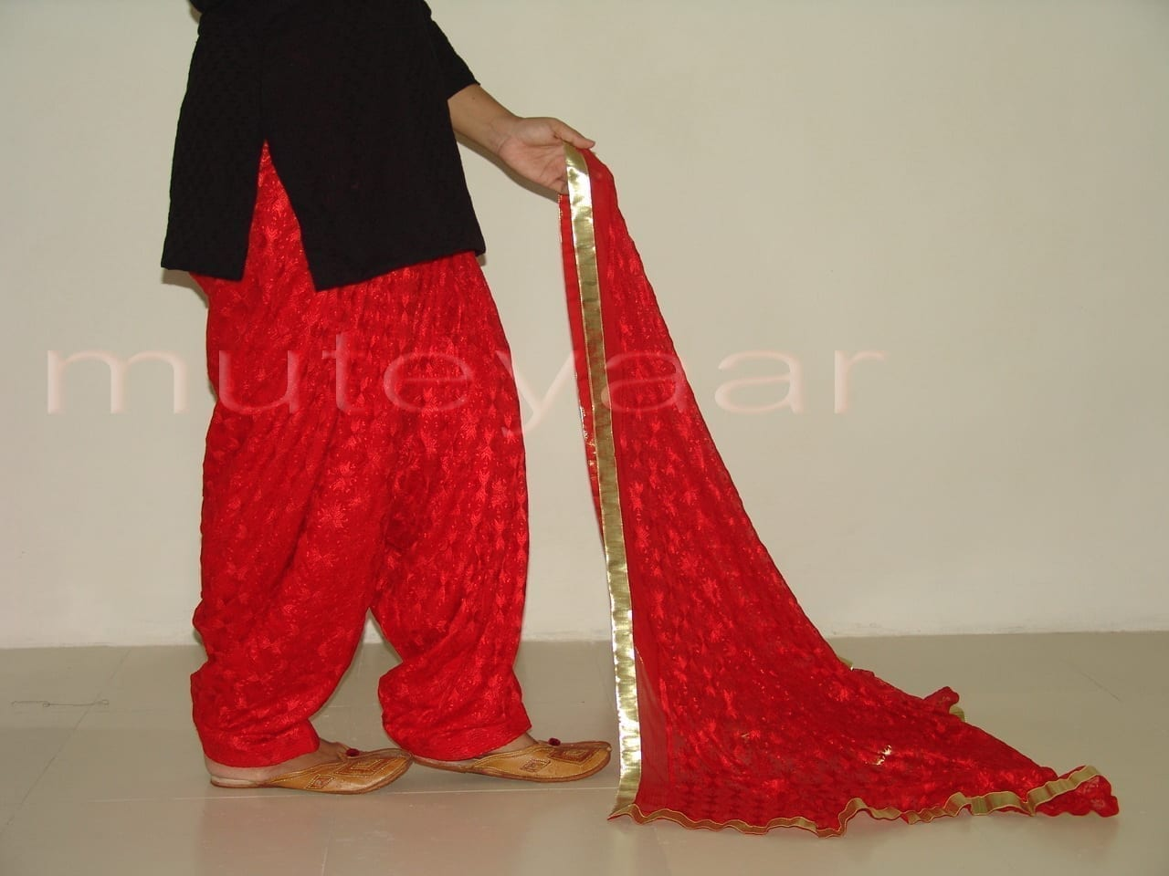 RED PHULKARI Patiala Salwar with matching Dupatta PHS08 2