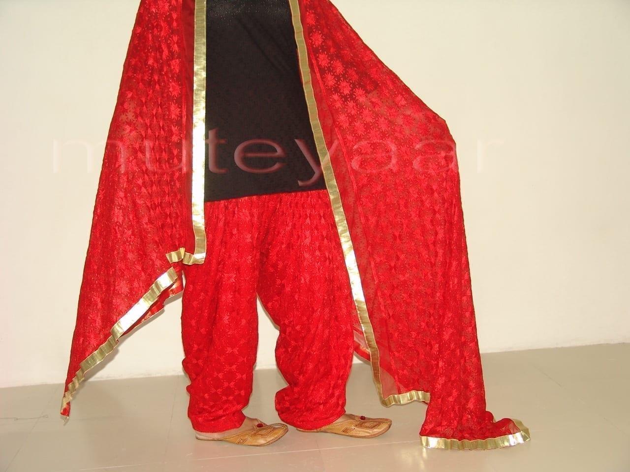 RED PHULKARI Patiala Salwar with matching Dupatta PHS08 3