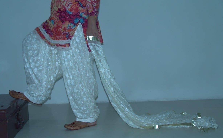 CREAM COLOUR PHULKARI Patiala Salwar with matching Dupatta PHS09 1