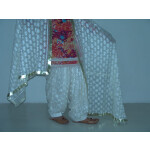CREAM COLOUR PHULKARI Patiala Salwar with matching Dupatta PHS09