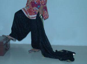 JET BLACK PHULKARI Patiala Salwar with matching Dupatta PHS10
