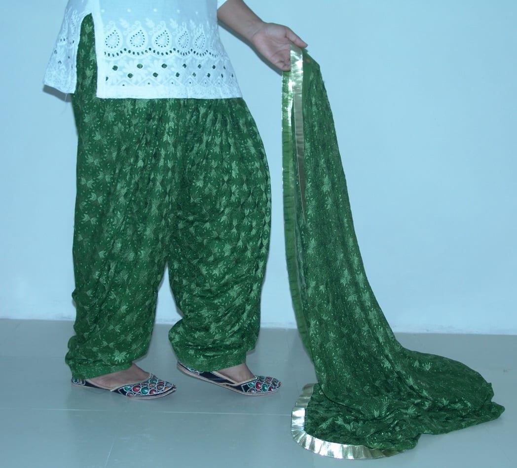 MEHENDI GREEN PHULKARI Patiala Salwar with matching Dupatta PHS11 2