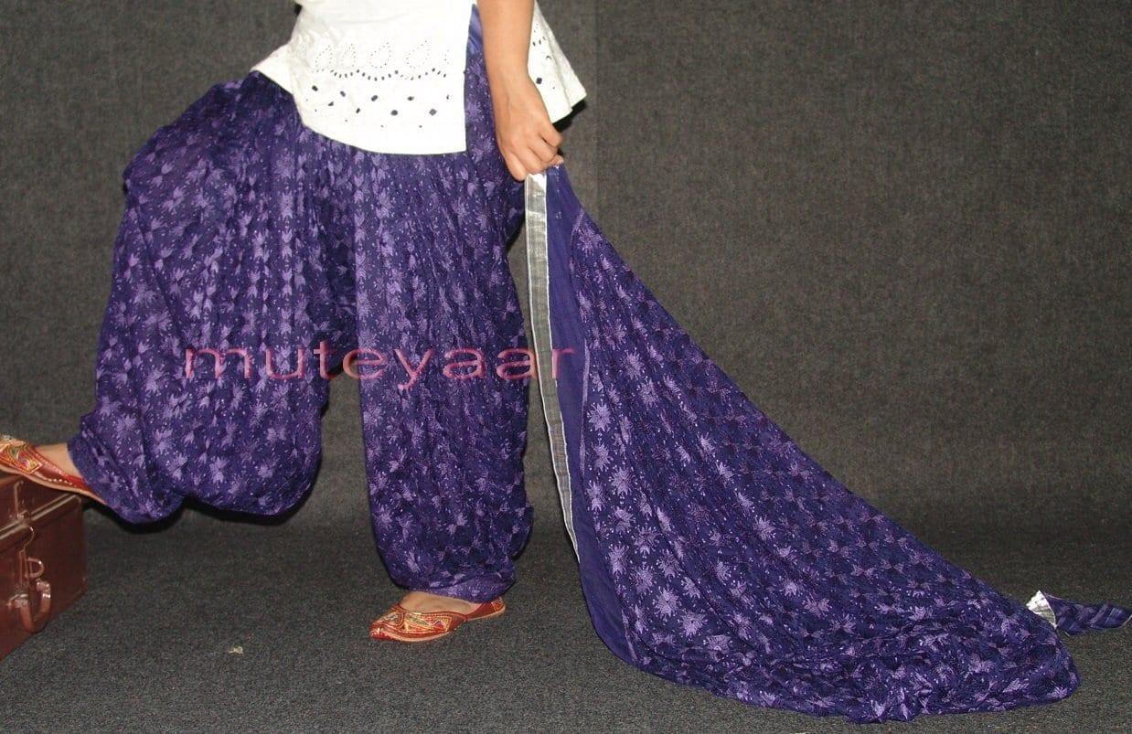 Dark Blue PHULKARI Patiala Salwar with matching Dupatta PHS12 1
