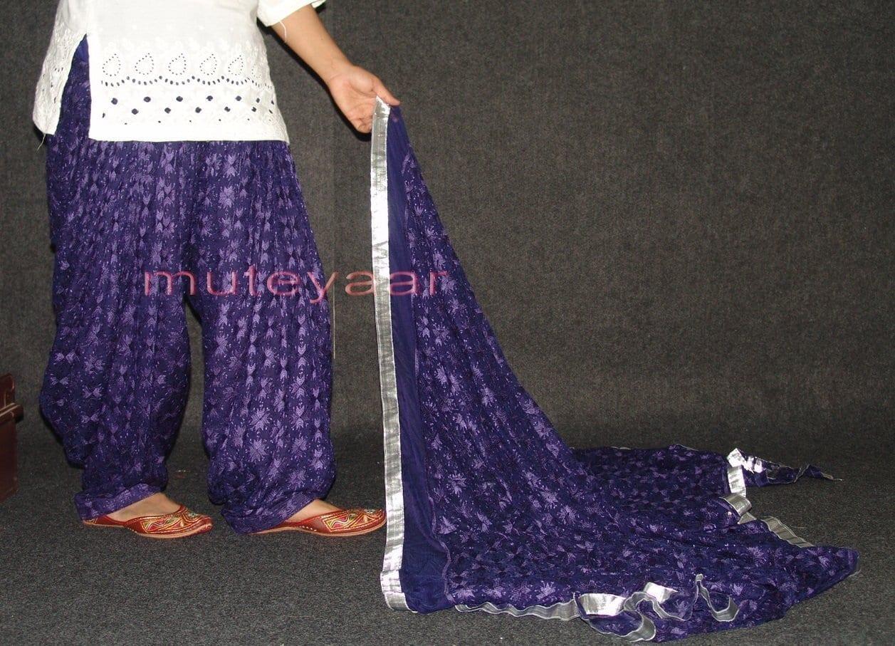 Dark Blue PHULKARI Patiala Salwar with matching Dupatta PHS12 2