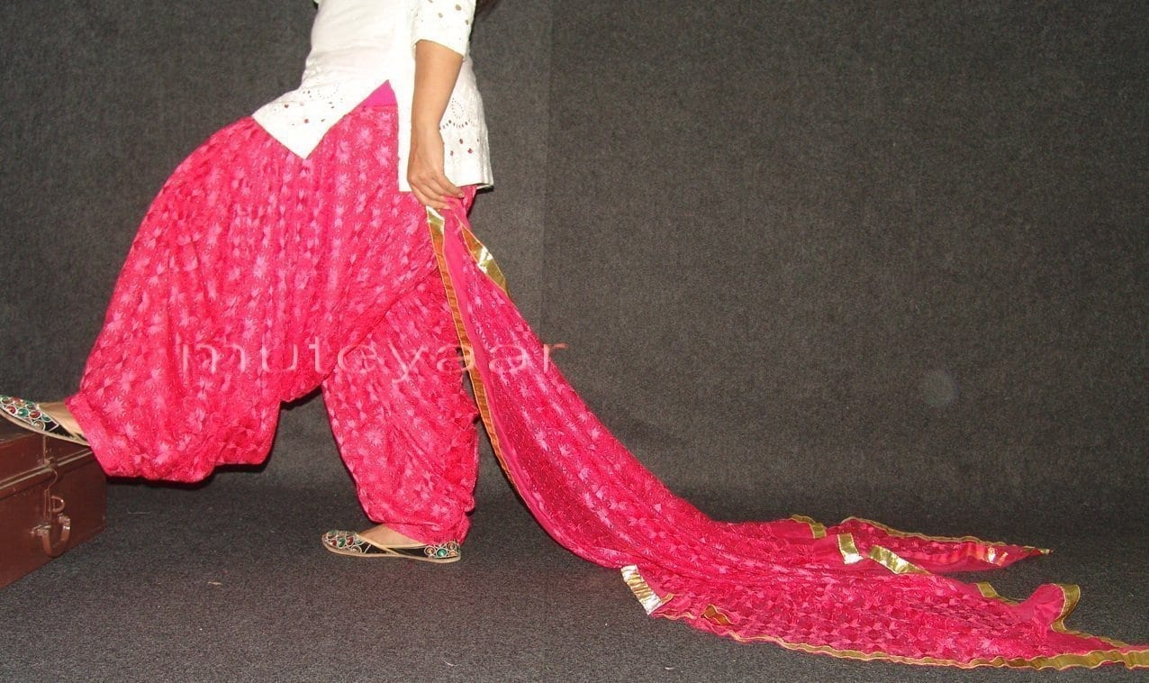 Magenta Phulkari Patiala Salwar Dupatta PHS14 1