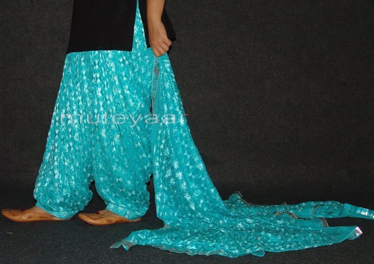 Light Blue Phulkari Patiala Salwar Dupatta PHS16 3