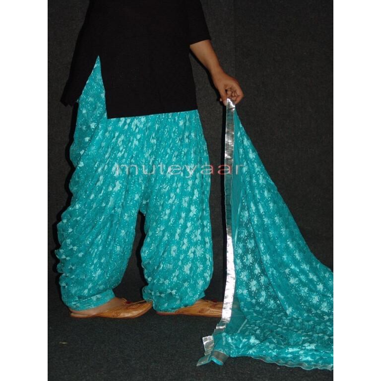 Light Blue PHULKARI Embroidered Patiala Salwar with matching Dupatta PHS16