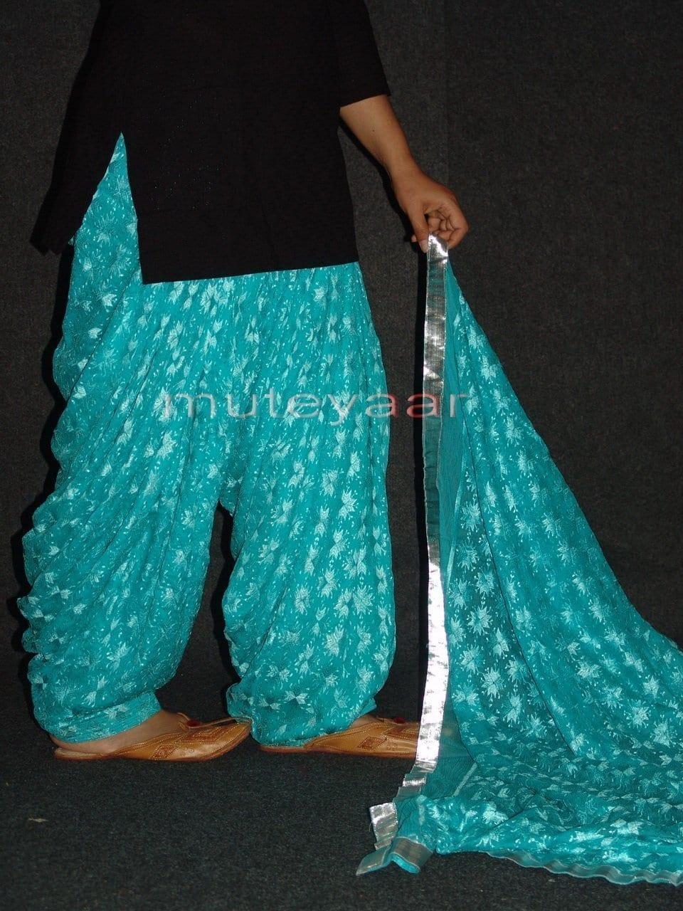 Light Blue Phulkari Patiala Salwar Dupatta PHS16 5