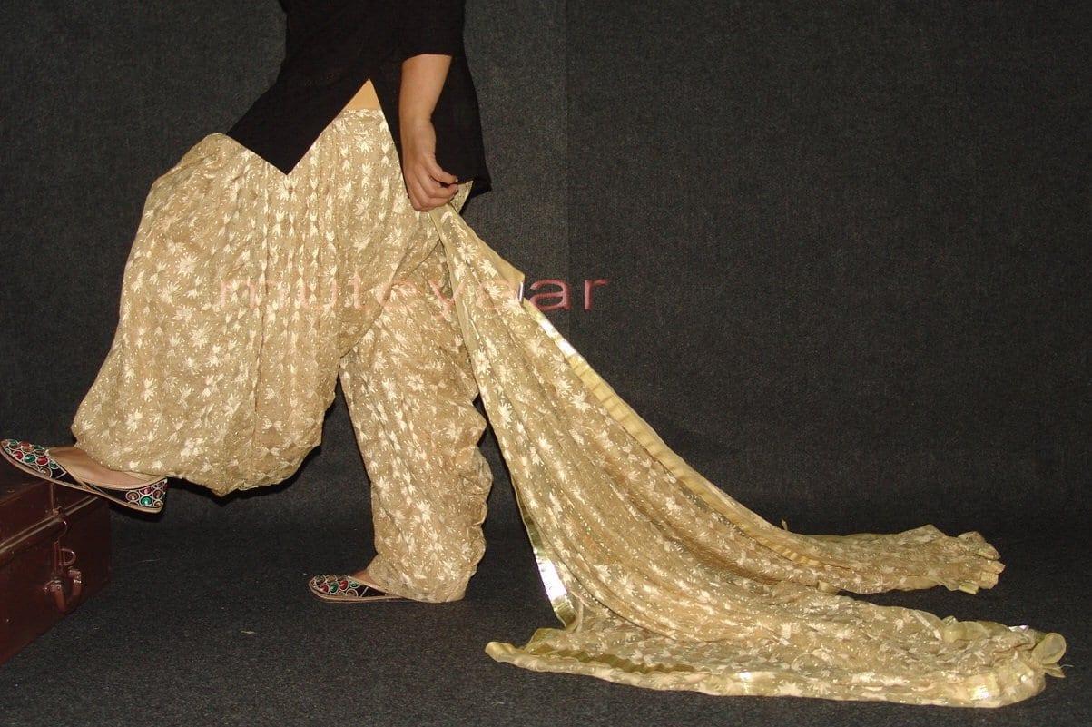 Golden Fawn Phulkari Patiala Salwar with matching Dupatta PHS17 2