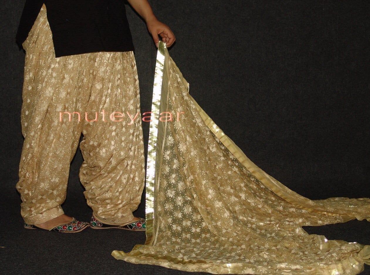Golden Fawn Phulkari Patiala Salwar with matching Dupatta PHS17 3