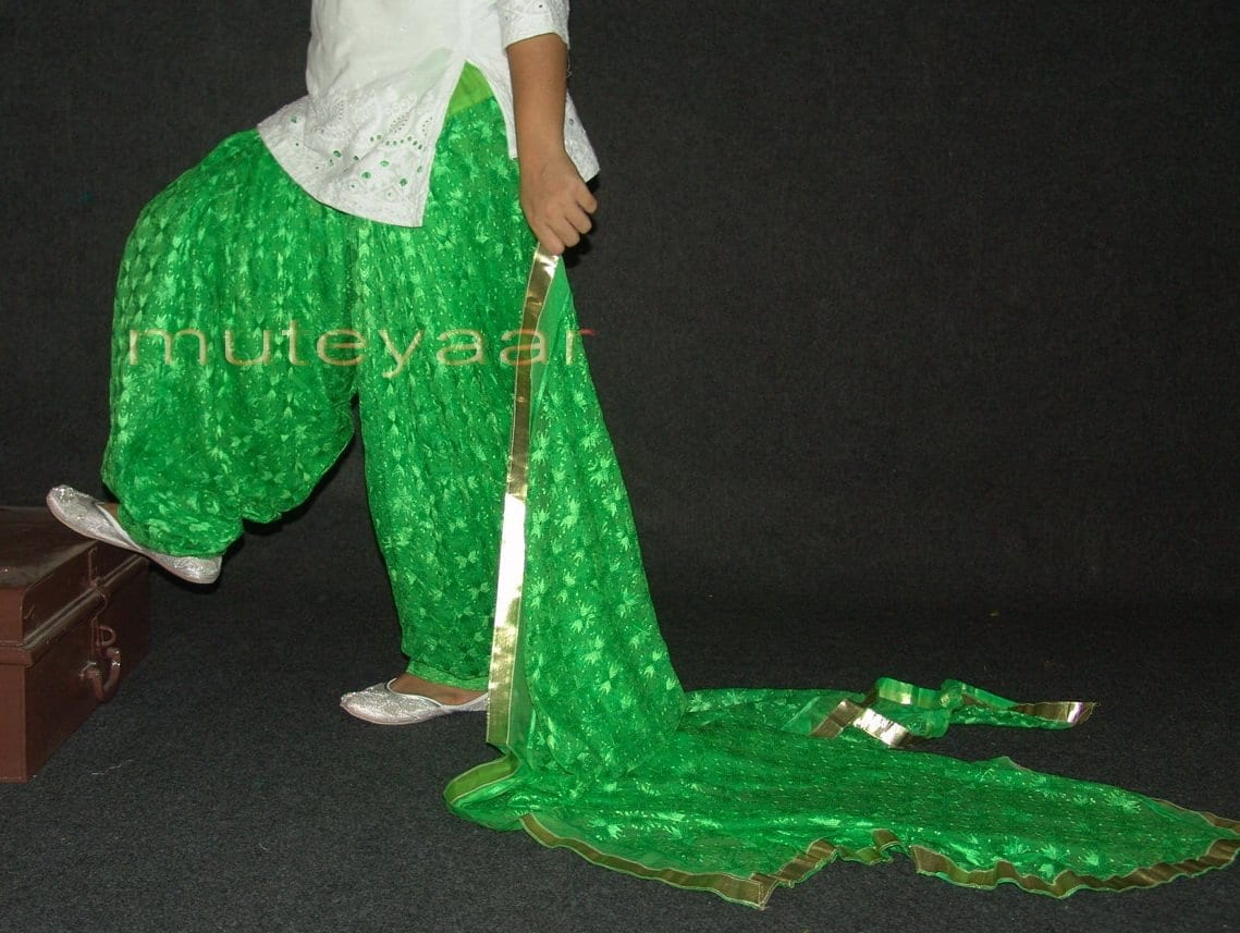 Parrot green PHULKARI Embroidered Patiala Salwar with matching Dupatta PHS18 1