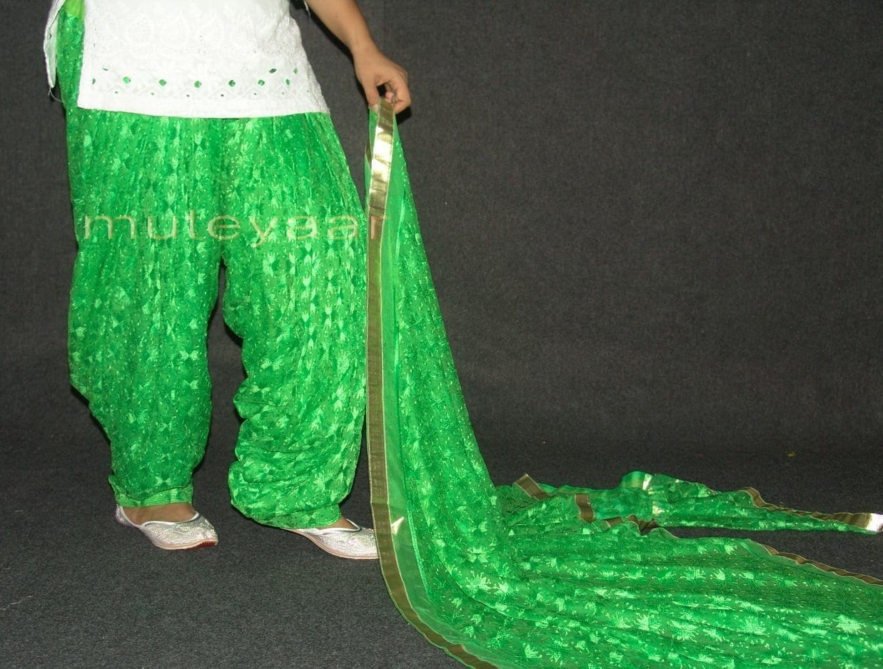 Parrot green PHULKARI Embroidered Patiala Salwar with matching Dupatta PHS18 2