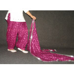 Wine colour PHULKARI Embroidered Patiala Salwar with matching Dupatta PHS19