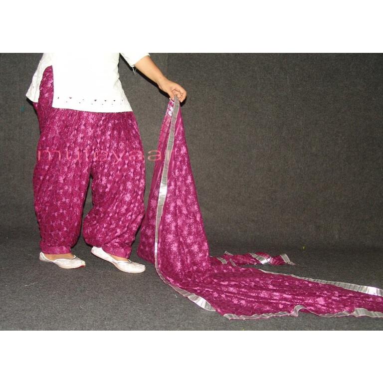 Wine colour PHULKARI Embroidered Patiala Salwar with matching Dupatta PHS19