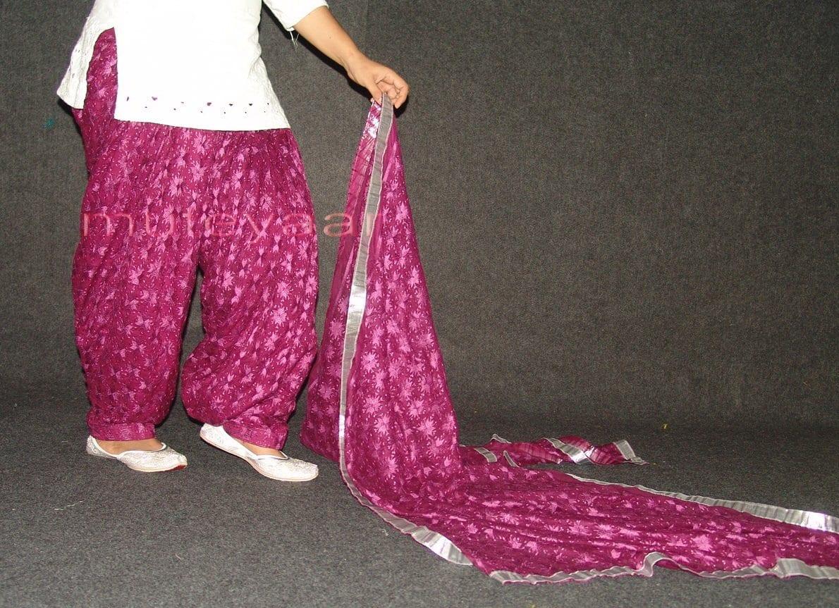 Wine colour PHULKARI Embroidered Patiala Salwar with matching Dupatta PHS19 3