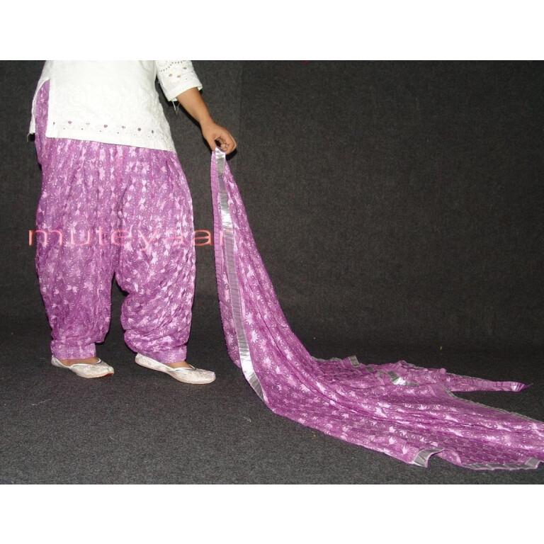 Mauve PHULKARI Embroidered Patiala Salwar with matching Dupatta PHS20