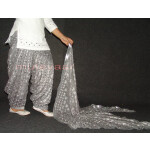 Grey PHULKARI Embroidered Patiala Salwar with matching Dupatta PHS21