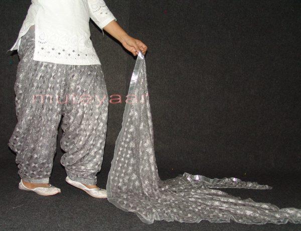 Grey PHULKARI Embroidered Patiala Salwar with matching Dupatta PHS21