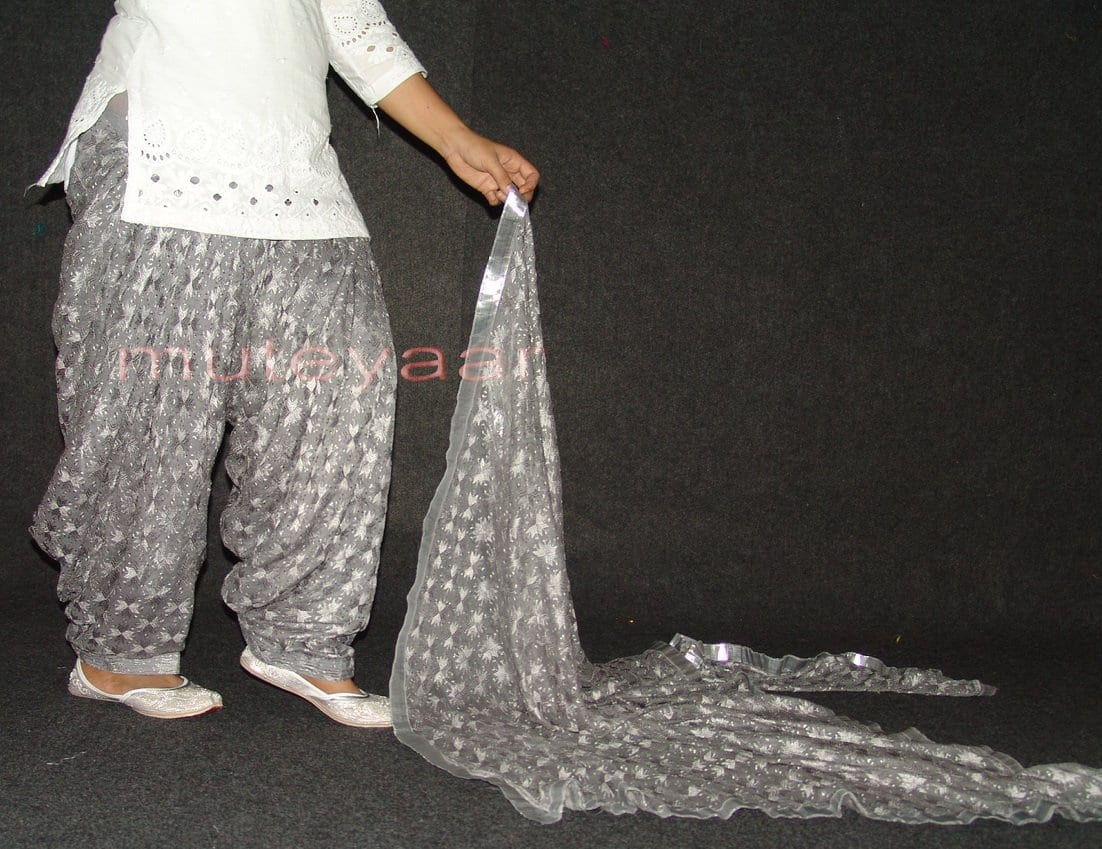 Grey PHULKARI Embroidered Patiala Salwar with matching Dupatta PHS21 4