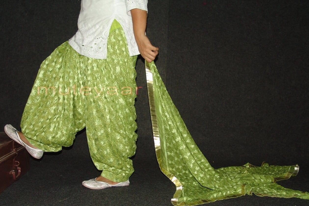 Pista Green PHULKARI Embroidered Patiala Salwar with matching Dupatta PHS22 1