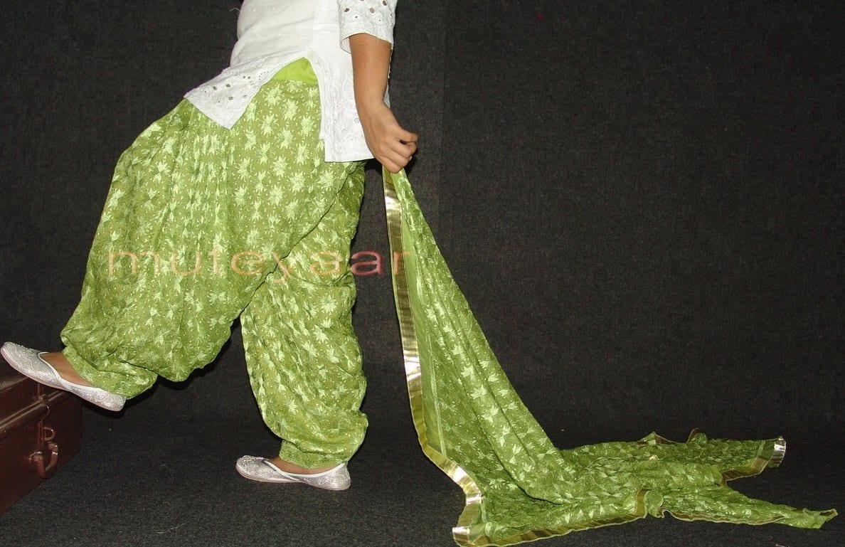 Pista Green PHULKARI Embroidered Patiala Salwar with matching Dupatta PHS22 2