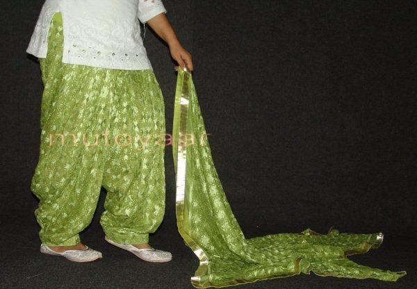 Pista Green PHULKARI Embroidered Patiala Salwar with matching Dupatta PHS22
