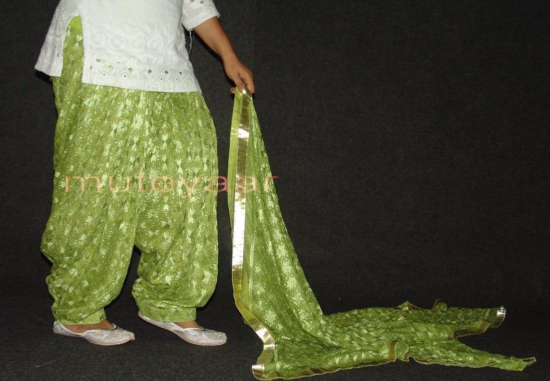 Pista Green PHULKARI Embroidered Patiala Salwar with matching Dupatta PHS22 3