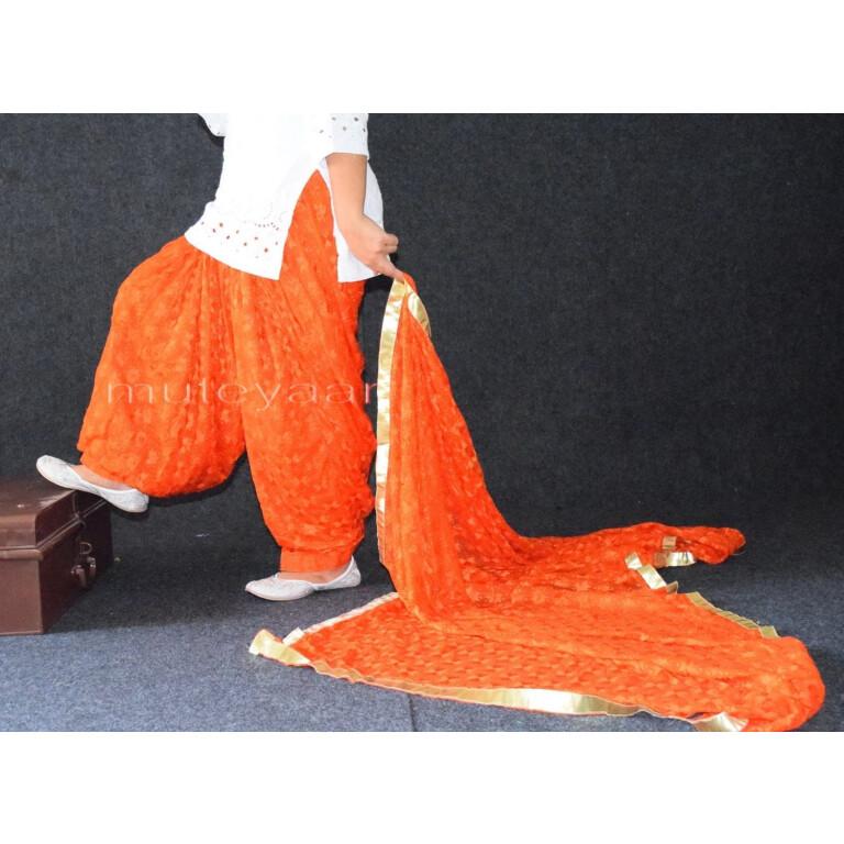 Orange PHULKARI Patiala Salwar with matching Dupatta PHS23