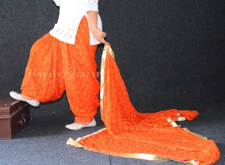 Orange Phulkari Patiala Salwar with matching Dupatta PHS23 1