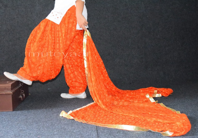 Orange PHULKARI Patiala Salwar with matching Dupatta PHS23 2