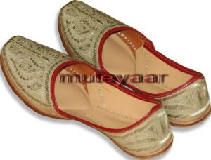 L. Golden Handmade Leather Punjabi Jutti Shoes for MEN PJ9731