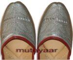 Silver Handmade Leather Punjabi Jutti Shoes for MEN PJ9736