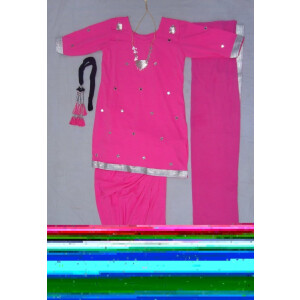 Pink mirrors work Girl's Bhangra Costume outfit dance dress