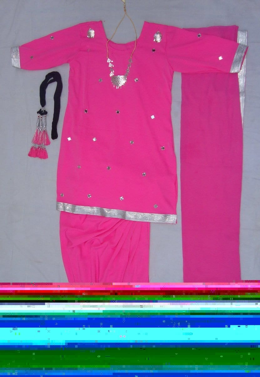 Pink mirrors work Girl's Bhangra Costume outfit dance dress 1