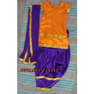 Purple Orange Girl's Bhangra Costume outfit dance dress