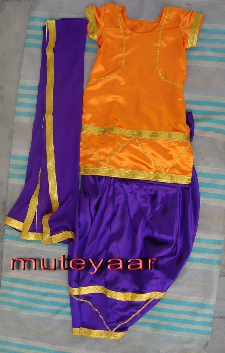 Purple Orange Girl's Bhangra Costume outfit dance dress 1
