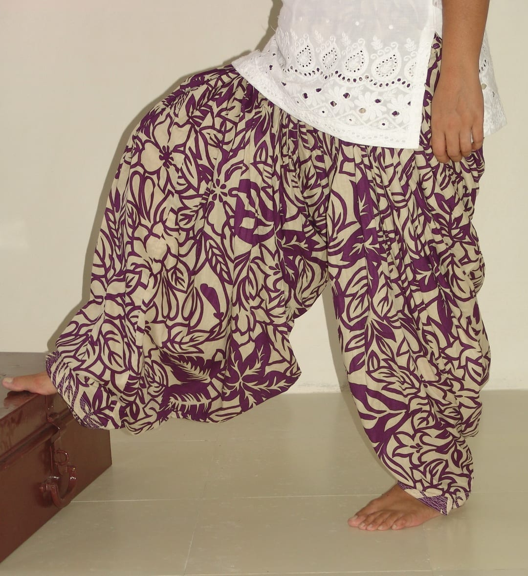 Wine Leaves Print Pure Cotton Patiala Shalwar PPS49 1