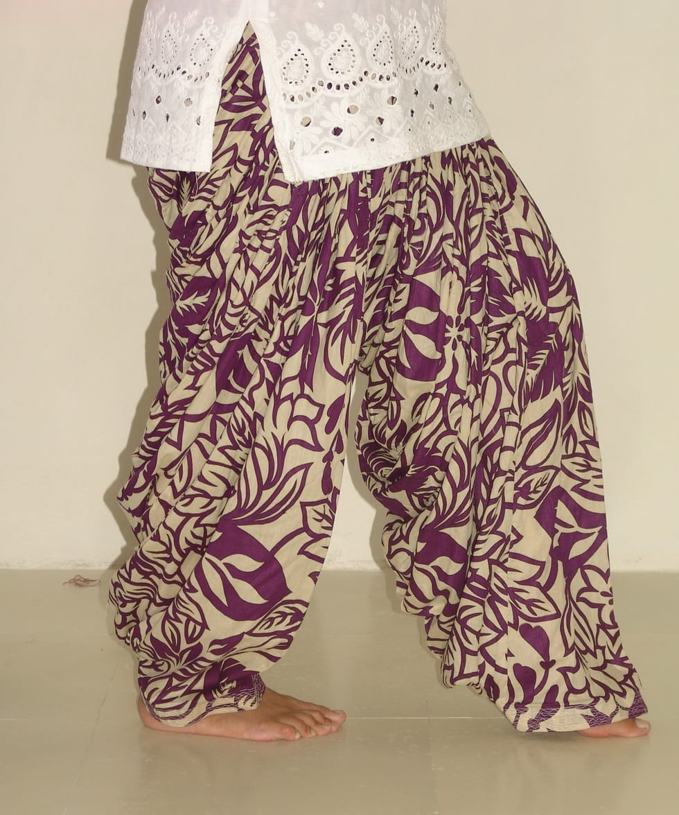 Wine Leaves Print Pure Cotton Patiala Shalwar PPS49 2