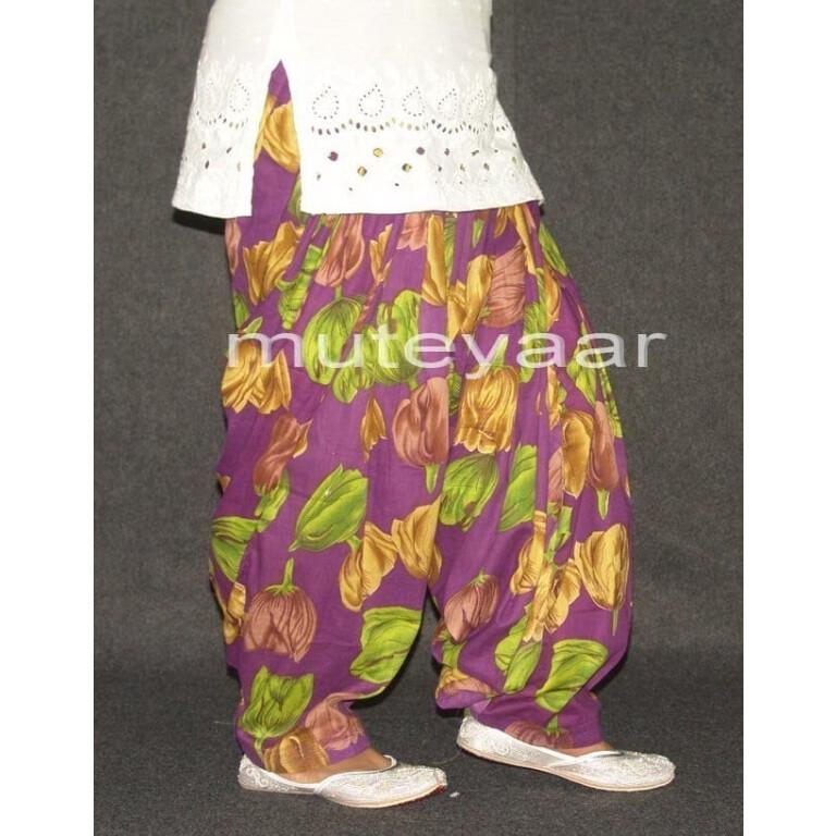 Large Flowers Print 100%  Pure Cotton Patiala Salwar PPS75