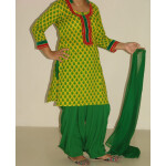 Pure Cotton Printed kameez with plain Salwar Dupatta PS003
